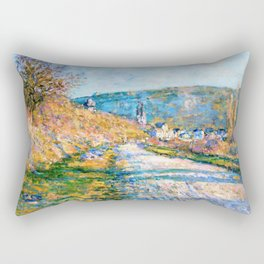 Claude Monet - The Road to Vetheuil - Digital Remastered Edition Rectangular Pillow