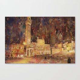 Piazza del Campo in medieval city of Siena, Italy.  Siena Itay art Canvas Print