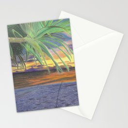 Sunset With Palm Tree Stationery Cards