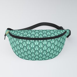 Gleaming Green Metal Scalloped Scale Pattern Fanny Pack