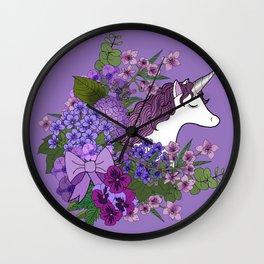 Unicorn in a Purple Garden Wall Clock