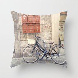bike love::rome, italy Throw Pillow