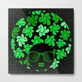 Afro Diva : Green & Black Metal Print