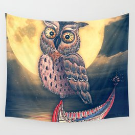 Lanyu Scops Owl with Traditional Canoe Wall Tapestry
