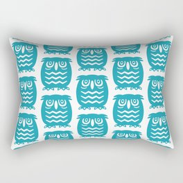 Mid Century Owl Pattern Turquoise Rectangular Pillow
