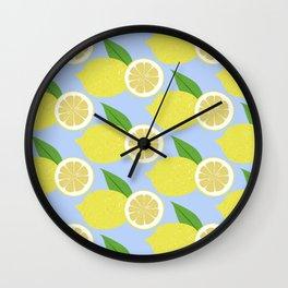 Lemon fruits on blue Wall Clock