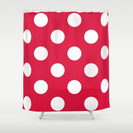 Large Polka Dots - White on Crimson Red Shower Curtain