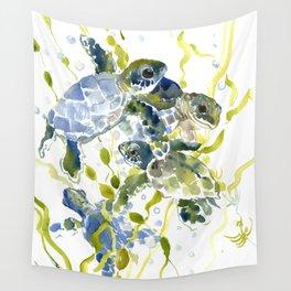 Turtle Baby Sea Turtles, underwater scene olive green, green indigo blue children Wall Tapestry