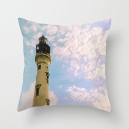 Cloudy at the Lighthouse Throw Pillow