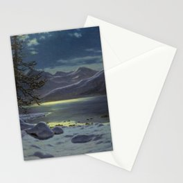 Moonlit Lake, Winter Landscape by Ivan Fedorovich Choultsé Stationery Cards