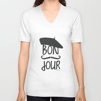 bonjour V-neck T-shirts featuring bonjour by miss Sue