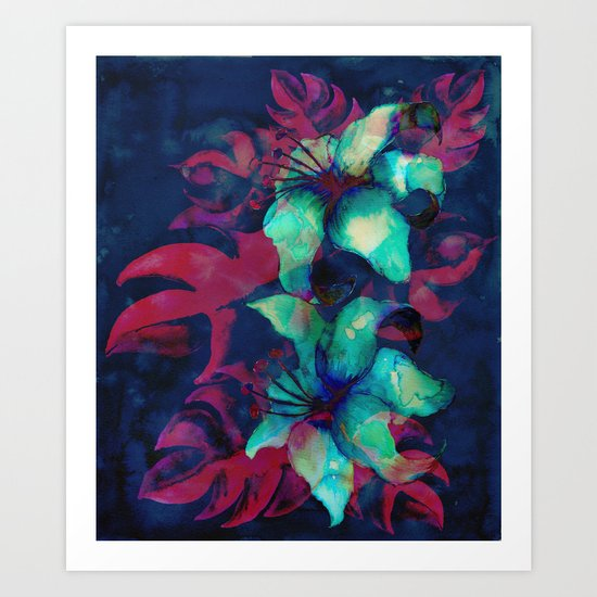 Tropical Flower - Blue Lilly Art Print