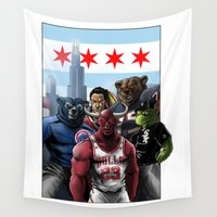 sports Wall Tapestries featuring Chicago Sports by Carrillo Art Studio
