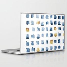 Watercolor Indigo Gold Geometrical Squares Pattern Laptop & iPad Skin