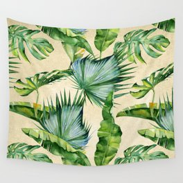 Green Tropics Leaves on Linen Wall Tapestry