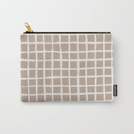 Strokes Grid - Off White on Nude Carry-All Pouch