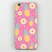 pinapple iPhone & iPod Skins featuring Pink Pinapple by KattyB