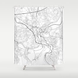 Minimal City Maps - Map Of Liege, Belgium. Shower Curtain
