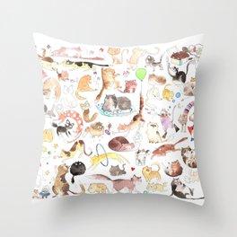 A cat mess Throw Pillow