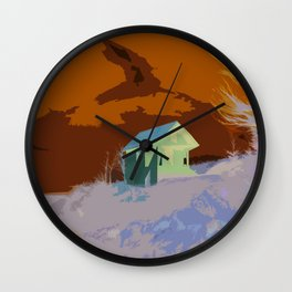 A Beautiful house on the hill Wall Clock