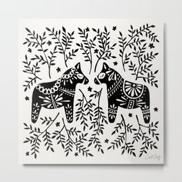 Swedish Dala Horses – Black Palette Metal Print