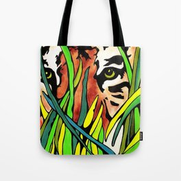 Tiger Eyes Looking Through Tall Grass By annmariescreations Tote Bag