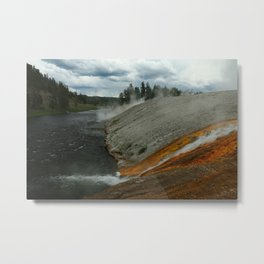Thermal Geyser Runoff Into Firehole River Metal Print