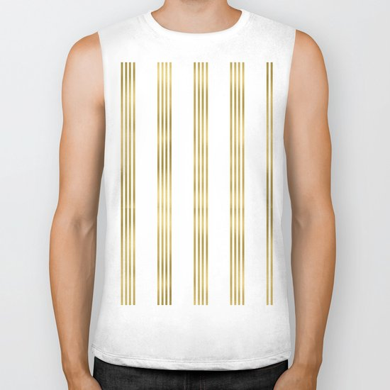 Gold small stripes on clear white - vertical pattern Biker Tank