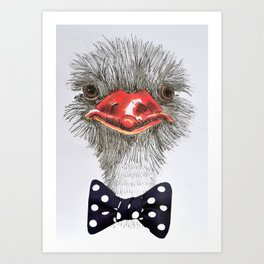Ostrich with blue bowtie Art Print