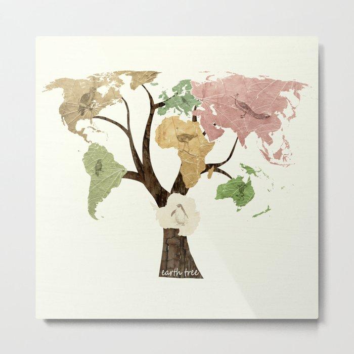 Earth Tree (Birds) Metal Print