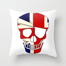 Union Jack Skull Silhouette With Eye Patch Throw Pillow