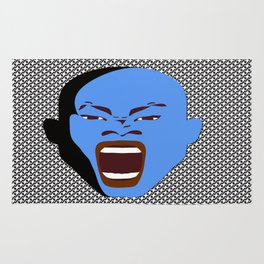 blue man screaming face rudeink art work Rug
