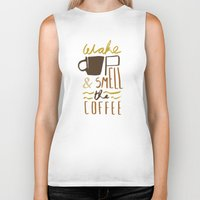 coffee Biker Tanks featuring Coffee by David