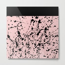 Splat Black on Blush Boarder 2 Metal Print