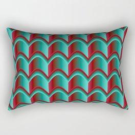 Abstract Green&Red Pattern Rectangular Pillow