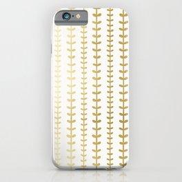 Minimalist gold vines pattern iPhone Case