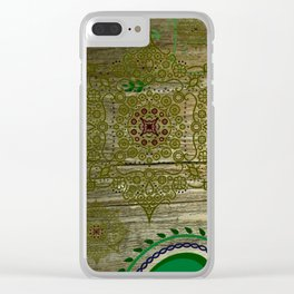 Paisley - Wood - Green & Blue - Mandala - 2 Clear iPhone Case