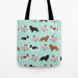Cavalier King Charles Spaniel florals cute gift for dog lover custom pet portrait pet friendly dog Tote Bag