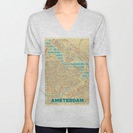 Amsterdam Map Retro Unisex V-Neck