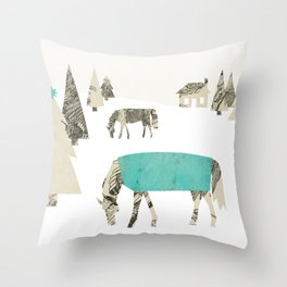 Winter Horses, A Holiday Collage Throw Pillow