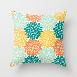 Petals in Orange, Mint, Apricot and Jade Throw Pillow
