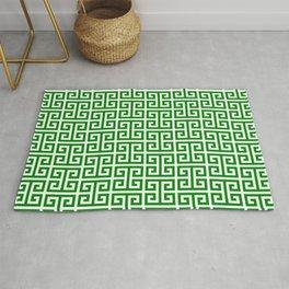 Green and White Greek Key Pattern Rug