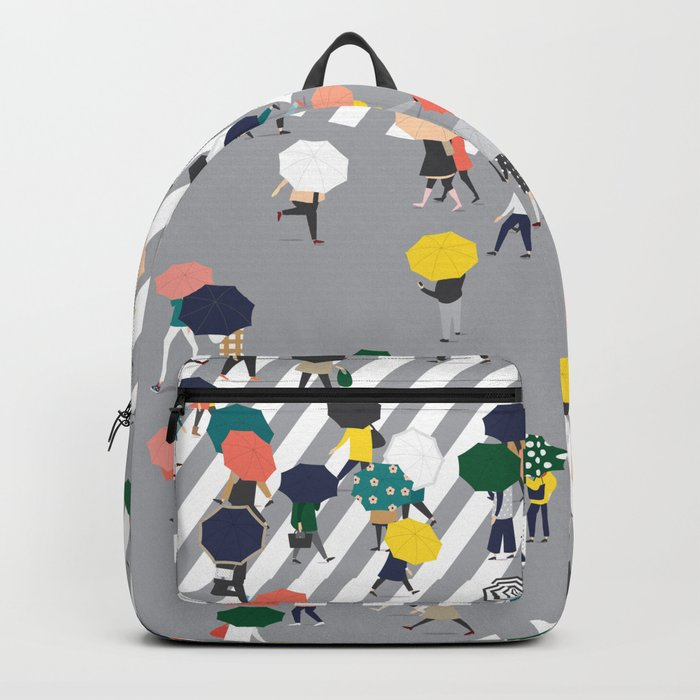 Crossing The Street on a Rainy Day - Grey Rucksack