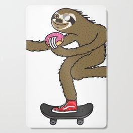 Skater Sloth loves donut Cutting Board