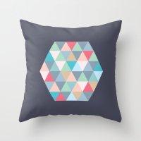 hexagon Throw Pillows featuring hexagon by vicenza