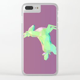 Low Poly Green Deer Clear iPhone Case