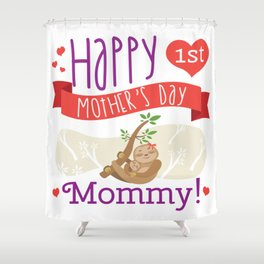 Happy Mothers Day Message Sloth Mom Grandma Gift Shower Curtain