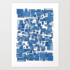 Blue Abstract Patches Art Print