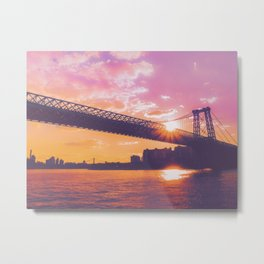 New York City Williamsburg Bridge Sunset Metal Print