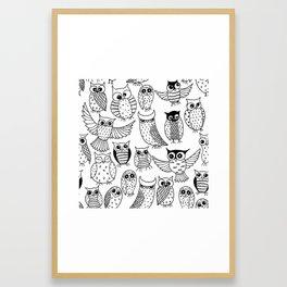 Funny owls Framed Art Print